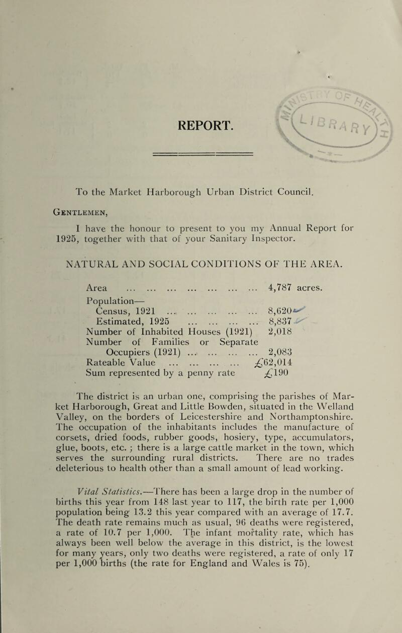 REPORT. To the Market Harborough Urban District Council. Gentlemen, I have the honour to present to you my Annual Report for 1925, together with that of your Sanitary Inspector. NATURAL AND SOCIAL CONDITIONS OF THE AREA. Area 4,787 acres. Population— Census, 1921 ..., . 8,620*-'' Estimated, 1925 . 8,837 Number of Inhabited Houses (1921) 2,018 Number of Families or Separate Occupiers (1921) ...■ 2,083 Rateable Value . ^62,014 Sum represented by a penny rate ^190 The district is an urban one, comprising the parishes of Mar¬ ket Harborough, Great and Little Bowden, situated in the Welland Valley, on the borders of Leicestershire and Northamptonshire. The occupation of the inhabitants includes the manufacture of corsets, dried foods, rubber goods, hosiery, type, accumulators, glue, boots, etc. ; there is a large cattle market in the town, which serves the surrounding rural districts. There are no trades deleterious to health other than a small amount of lead working. Vital Statistics.—There has been a large drop in the number of births this year from 148 last year to 117, the birth rate per 1,000 population being 13.2 this year compared with an average of 17.7. The death rate remains much as usual, 96 deaths were registered, a rate of 10.7 per 1,000'. The infant mortality rate, which has always been well below the average in this district, is the lowest for many years, only two deaths were registered, a rate of only 17 per 1,000 births (the rate for England and Wales is 75).