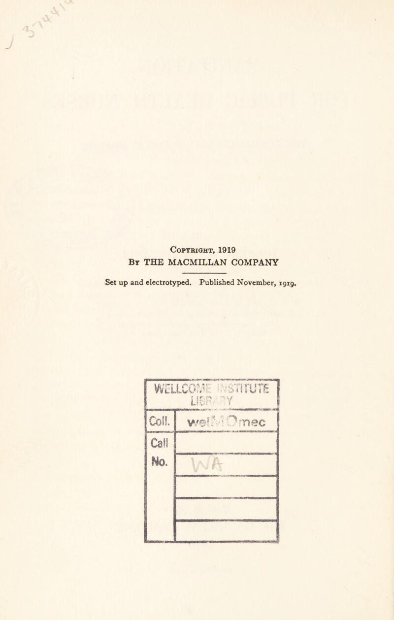 Copyright, 1919 By THE MACMILLAN COMPANY Set up and electrotyped. Published November, 1919.