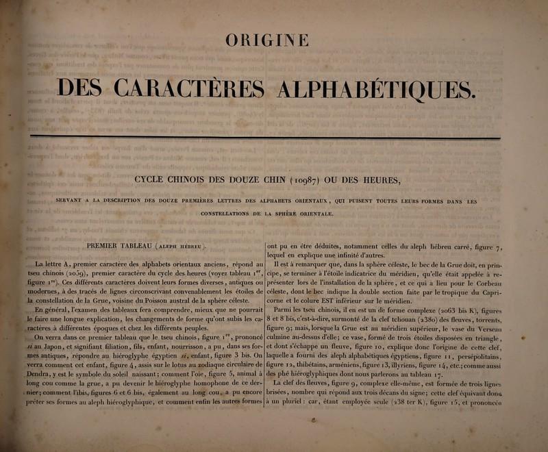 ORIGINE DES CARACTÈRES ALPHARÉJTQUES. CYCLE CHINOIS DES DOUZE CHIN (10987) OU DES HEURES, SERVANT A LA DESCRIPTION DES DOUZE PREMIERES LETTRES DES ALPIIARETS ORIENTAUX , QUI PUISENT TOUTES LEURS FORMES DANS LES CONSTELLATIONS DE LA SPHERE ORIENTALE. PREMIER TARLEAU ( aleph hébreu ). La lettre A, premier caractère des alphabets orientaux anciens, répond au tseu chinois (2009), premier caractère du cycle des heures (voyez tableau ier, figure ire)- Ces différents caractères doivent leurs formes diverses, antiques ou modernes, à des tracés de lignes circonscrivant convenablement les étoiles de la constellation de la Grue, voisine du Poisson austral de la sphère céleste. En général, l'examen des tableaux fera comprendre, mieux que ne pourrait le faire une longue explication, les changements de forme qu'ont subis les ca¬ ractères à différentes époques et chez les différents peuples. On verra dans ce premier tableau que le tseu chinois, figure iie, prononcé si au Japon, et signifiant filiation, fils, enfant, nourrisson, a pu, dans ses for¬ mes antiques, répondre au hiéroglyphe égyptien si, enfant, figure 3 bis. On verra comment cet enfant, figure 4? assis sur le lotus au zodiaque circulaire de Dendra, y est le symbole du soleil naissant; comment l'oie, figure 5, animal à long cou comme la grue, a pu devenir le hiéroglyphe homophone de ce der¬ nier; comment l'ibis, figures 6 et 6 bis, également au long cou, a pu encore prêter ses formes au aleph hiéroglyphique, et comment enfin les autres formes ont pu en être déduites, notamment celles du aleph hébreu carré, figure 7, lequel en explique une infinité d'autres. Il est à remarquer que, dans la sphère céleste, le bec de la Grue doit, en prin¬ cipe, se terminer à l'étoile indicatrice du méridien, qu'elle était appelée à re¬ présenter lors de l'installation de la sphère, et ce qui a lieu pour le Corbeau céleste, dont le bec indique la double section faite par le tropique du Capri¬ corne et le colure EST inférieur sur le méridien