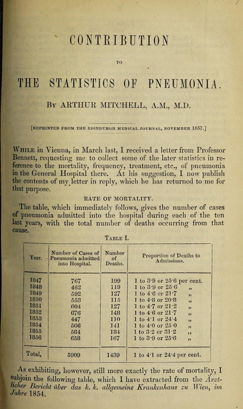 """CONTRIBUTION TO THE STATISTICS OF PNEUMONIA. By ARTHUR MITCHELL, A.M., M.I). [REPRINTED FROM THE EDINBURGH MEDICAL JOURNAL, NOVEMBER 1857.] While in Vienna, in March last, I received a letter from Professor Bennett, requesting me to collect some of the later statistics in re¬ ference to the mortality, frequency, treatment, etc., of pneumonia in the General Hospital there. At his suggestion, I now publish the contents of my( letter in re that purpose. ply, which he has returned to me for RATE OF MORTALITY. The table, which immediately follows, gives the number of cases of pneumonia admitted into the hospital during each of the ten last years, with the total number of deaths occurring from that cause. Table I. Year. Number of Cases of Pneumonia admitted into Hospital. Number of Deaths. Proportion of Deaths to Admissions. 1847 767 199 1 to 3'9 or 25'6 per cent. 1848 462 119 1 to 3'9 or 256 """" 1849 592 127 1 to 4'6 or 21-7 """" 1850 553 115 1 to 4-8 or 20'8 """" 1851 604 127 1 to 4'7 or 21 '2 """" 1852 676 148 1 to 4'6 or 21 '7 1853 447 110 1 to 41 or 24 4 """" 1854 566 141 1 to 4'0 or 25 0 """" 1855 584 184 1 to 32 or 31 '2 ,, 1856 658 167 1 to 3'9 or 25*6 """" Total, 5909 1439 1 to 4'1 or 24'4 per cent. As exhibiting, however, still more exactly the rate of mortality, I subjoin the following table, which I have extracted from the Arzt- Licher Bericht ilber das k. Jc. allqemeine KranJcenhaus zu JVien, im Jahre 1854."""