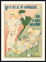 view A soldier eyes a prostitute; the same soldier later suffers from syphilis or another sexually transmitted disease. Colour lithograph by Blas, 1936/1939.