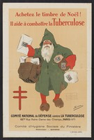 view Father Christmas (Santa Claus) delivering Christmas mail sealed with the tuberculosis stamp. Colour lithograph by Sim, 193- (?).