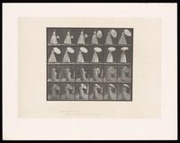 view A woman opening an umbrella. Collotype after Eadweard Muybridge, 1887.