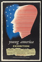view Profile of a young man in red stripes against a blue background of white stars; representing young America. Colour lithograph after F.H.K. Henrion.