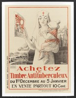 view A nurse protecting a baby from tuberculosis with stamps sold in aid of a campaign against tuberculosis. Colour lithograph.
