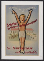view A healthy boy, protected from tuberculosis by fresh air and exercise. Colour lithograph by André Wilquin, 1942.
