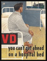 view An American sailor sitting on a hospital bed, prevented by venereal disease from joining his ship. Colour lithograph, ca. 1948.