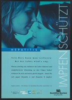 view Two women kissing; promoting the protection of vaccination against the risk of Hepatitis A and Hepatitis B as a result of intimate body contact. Colour lithograph by SmithKline Beecham, ca. 2000.