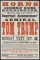 view Horns Assembly Rooms, Kennington : for one day only... Admiral Tom Trump will hold receptions at the above rooms on Monday next, Oct. 11.