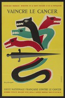 view A sword slaying the hydra; representing the fight against cancer. Colour lithograph after G. Georget, 1960.