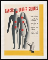 view A lecturer pointing to a large screen, on which projected diagrams of the bodies of a man and a woman are marked with red flags indicating areas where cancer may be first seen. Colour lithograph after Fellnagel, 1941.