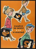 view Three children on their way to school with their packed lunches in school bags. Colour lithograph, 195-.