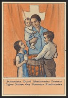 view A woman and her three children abstaining from alcohol; representing the Swiss league of women abstainers. Colour lithograph after M. Goetz, 1905 (?).
