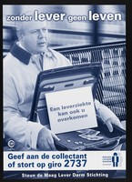 """view A man sitting on a bench appealing for money for people with liver disease: """"Without a liver--no life"""". Colour lithograph for Maag Lever Darm Stichting, 2001."""