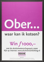 "view The question ""Waiter, where can I have a puke?"" advertising a quiz on alcohol abuse. Colour lithograph by Nationaal Instituut voor Gezondheidsbevordering en Ziektepreventie, 2000."