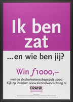 "view The question ""I am full ... and how are you?"" advertising a quiz on alcohol abuse. Colour lithograph by Nationaal Instituut voor Gezondheidsbevordering en Ziektepreventie, 2000."