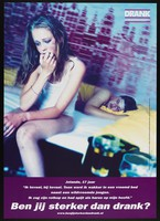 view A teenage girl wakes up in a strange bed after drinking too much the previous night. Colour lithograph for Nationaal Instituut voor Gezondheidsbevordering en Ziektepreventie, ca. 2000.