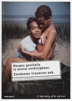 view A young black man and woman embracing on sand dunes, in need of condoms to avoid herpes infection. Colour lithograph for Stichting SOA-bestrijding, ca. 1999.