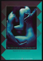 view A naked man and woman making love; advertising treatment for genital herpes. Colour lithograph for Stichting SOA-bestrijding, ca. 1999.