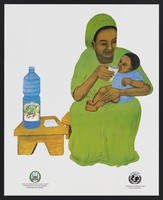 view A child receiving water to promote health education for children in Djubiti. Colour lithograph, ca. 2000.
