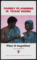 view A man hands a woman some pills: family planning in Ghana. Colour lithograph by Apple Pie Publicity for Ministry of Health, Ghana, ca. 2000.