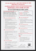 view Action list in the event of acute flaccid paralysis: prevention of poliomyelitis in Kenya. Colour lithograph by Ministry of Health, 2001.