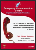view A telephone receiver: health related emergency communications in Kenya. Colour lithograph by Department of Health Promotion, ca. 2000.