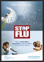 view Iron filings blowing off a dandelion flower head: flu prevention in Kenya. Colour lithograph by Sanofi Pasteur, ca. 2000.