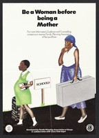 view A pregnant school girl in tears walks past a school sign followed by her mother holding a large suitcase: family planning in Kenya. Colour lithograph by Family Planning Association of Kenya, ca. 1991.
