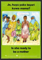 view Two nurses and a row of pregnant women look at a pregnant teenage girl in an antenatal clinic: family planning in Kenya. Colour lithograph by Rhoda for Family Planning Private Sector, ca. 2000.