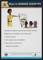 view A nutritionist displaying an image of fresh food to a group: importance of nutrition to combat diabetes in Kenya. Colour lithograph by Ministry of Health, ca. 2000.