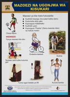 view Exercise tips to prevent diabetes in Kenya. Colour lithograph by Ministry of Health, ca. 2000.