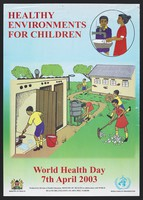 view Children washing their hands, cleaning and tidying: World Health Day in Kenya. Colour lithograph by Ministry of Health, 2003.