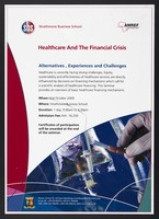 view Seminar on healthcare and the financial crisis at Strathmore Business School. Colour lithograph by Strathmore Business School, 2009.