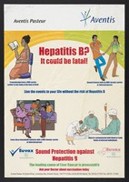 view Prevention of hepatitis B in Kenya. Colour lithograph by Aventis Pasteur, ca. 2000.