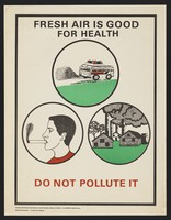 view Fumes emitting from a coach, a smoker and a factory: pollution in Kenya. Colour lithograph by B. Obara/E.W. Ngunga for Ministry of Health Division of Health Education, ca. 2000.