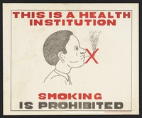 view A man puffs on a cigarette obscured by a red cross: anti-smoking campaign in Kenya. Colour lithograph by Division of Health Education, 1991.