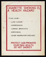 view Health risks of cigarette smoking: anti-smoking campaign in Kenya. Colour lithograph by Division of Health Education, 1980.