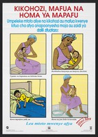 view A woman tending a sick child: protecting children from flu and pneumonia in Kenya. Colour lithograph by Ministry of Health, ca. 2000.