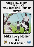 view A mother feeding a baby while her daughter plays on a swing: World Health Day in Kenya. Colour lithograph by Ministry of Health, 2005.