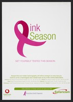view The breast cancer pink ribbon emblem representing the word 'pink': mobile mammography units in Kenya. Colour lithograph by Safaricom Foundation, ca. 2007.