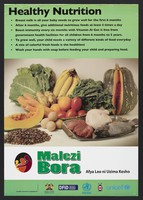 view Various foods representing healthy nutrition in Kenya. Colour lithograph by Ministry of Health, ca. 2000.