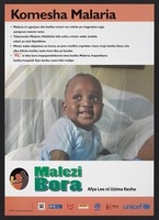 view A baby beneath a mosquito net: preventing malaria in Kenya. Colour lithograph by Ministry of Health, ca. 2000.