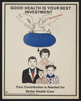 view Money being inserted into a purse above the heads of a family: investing in health care in Kenya. Colour lithograph by Division of Health Education, ca. 2000.