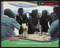 view Africans gathering information leaflets from a table: tuberculosis prevention in Kenya. Lithograph by Ministry of Public Health and Sanitation, 2009.