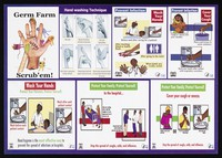 view Illustrated guide to preventing infection by washing hands: preventing spread of coughs, colds and influenza in Kenya. Colour lithograph by Ministry of Health, ca. 2000.