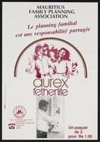 view A man dispensing condoms from a machine: advert for durex condoms and family planning in Mauritius. Colour lithograph by Mauritius Family Planning Association, ca. 2000.