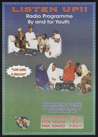 view A group of young men and women sit around two portable radios: promoting a health radio programme for teenagers in Nigeria. Colour lithograph by Johns Hopkins Bloomberg School of Public Health, ca. 2000.