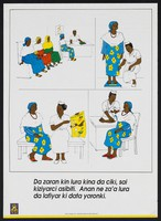 view A pregnant woman receiving advice at a clinic: The Bauchi State Mothercare Project in Nigeria. Colour lithograph by Bauchi State Mothercare Project, ca. 1994.