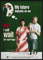 view A woman raises her hand to her partner as she considers marriage: family planning in Nigeria. Colour lithograph by Federal Ministry of Health, ca. 2001.